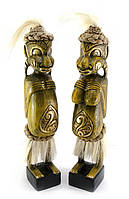 Папуасы пара резные дерево золотые (34х6х5 см)