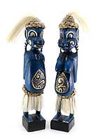Папуасы пара резные дерево синие (34х6х5 см)
