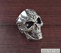 Серебряное мужское кольцо перстень Череп, подарок байкеру