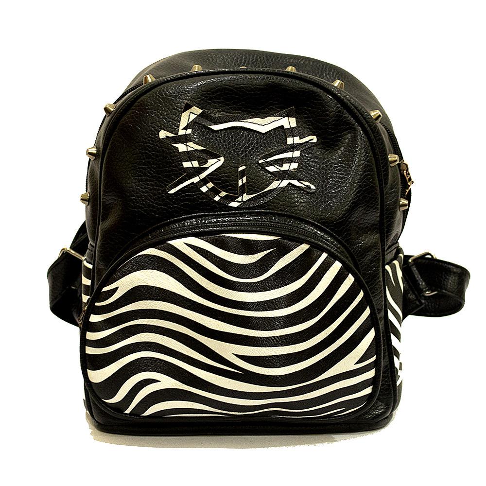 Черный женский городской рюкзак Кошка с принтом Зебра