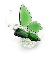 Бабочка на шаре хрусталь зеленая (4,5х5х4 см)