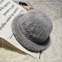 Шляпа женская ангоровая Котелок серая
