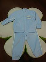 Спортивный костюм из 2-х ед спортивный костюм велюровый на мальчика , голубого цвета на молнии, аппликация с м