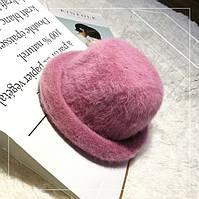 Шляпа женская ангоровая Котелок розовая