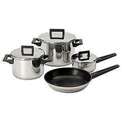 Набор кухонной посуды IKEA SNITSIG 4 предмета нержавеющая сталь 601.393.63
