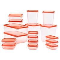 Набор контейнеров икеа PRUTA для хранения, 17 шт., прозрачный, оранжевый, IKEA, 802.515.51