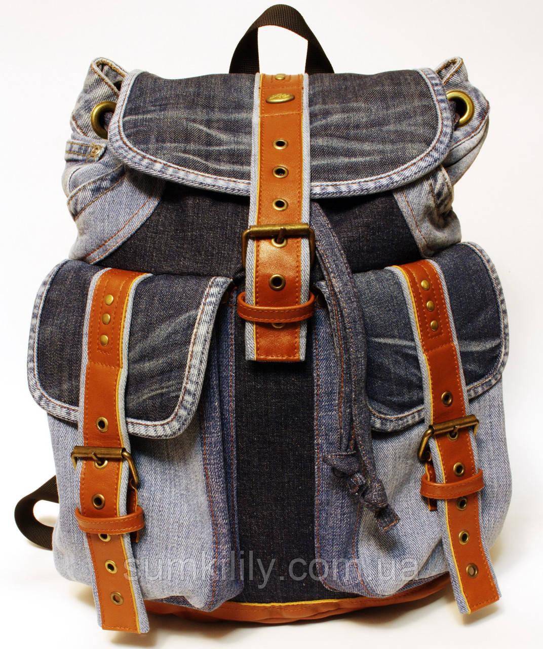 Рюкзак из джинсов и ярко рыжей кожи