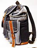 Рюкзак из джинсов и ярко рыжей кожи, фото 2