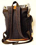 Рюкзак из джинсов и ярко рыжей кожи, фото 3