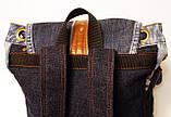 Рюкзак из джинсов и ярко рыжей кожи, фото 4