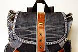 Рюкзак из джинсов и ярко рыжей кожи, фото 5