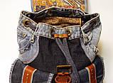 Рюкзак из джинсов и ярко рыжей кожи, фото 6