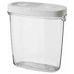 IKEA 365+ Контейнер для сухой продовольственной/белый, прозрачный, белый 800.667.23