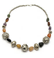 Ожерелье из агата и металла (25 см)