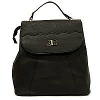 Сумка рюкзак черная стильная из кожзаменителя классика