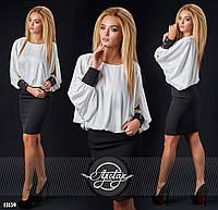 Модное платье с белым шелковым верхом. Арт-9288/41