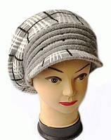 Берет с козырьком(кепка) женский вязаный Кира шерсть натуральная цвет серый