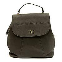 Сумка рюкзак серая стильная из кожзаменителя классика