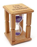 "Часы песочные в бамбуке ""Time is Money"" (3 мин) (9,5х6,5х6,5 см)"