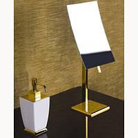 Зеркало увеличительное настольное Gessi Mimi Италия белое золото