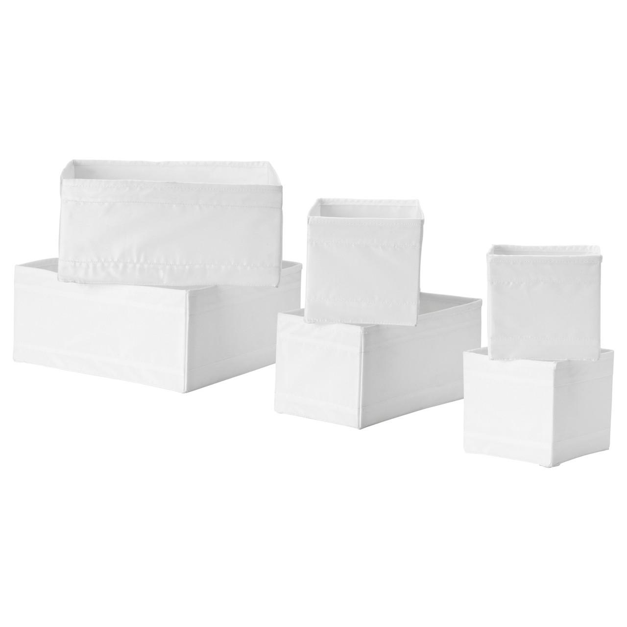 Набор коробок IKEA SKUBB 6 шт белые 004.285.49