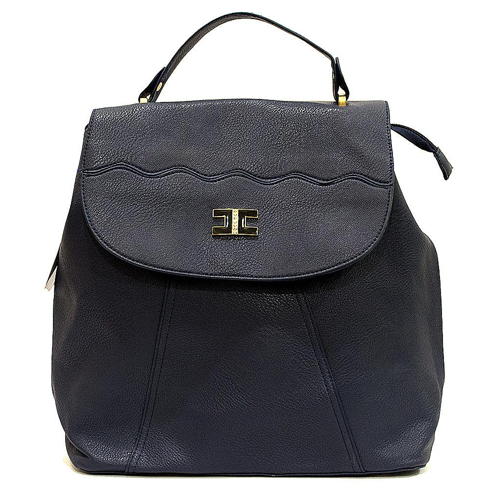 Сумка рюкзак синяя стильная из кожзаменителя классика
