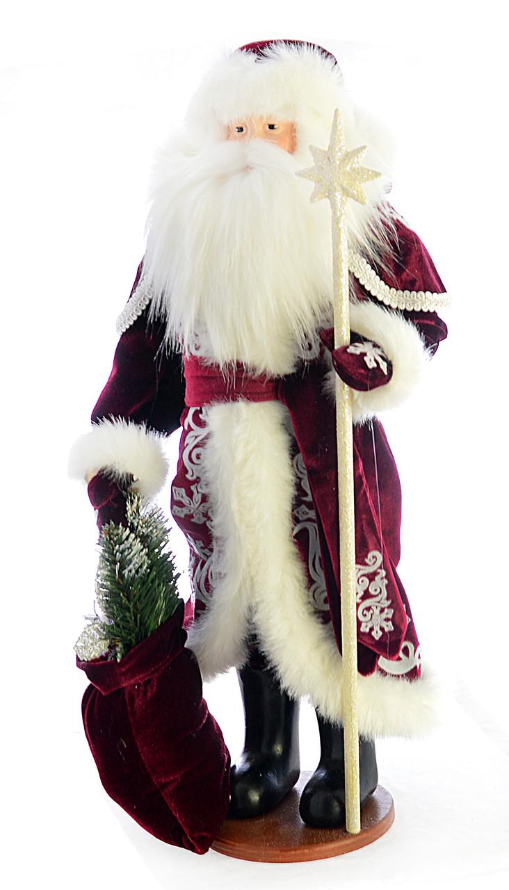Дед Мороз 53 см. c белым посох 0455