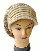 Кепка(берет с козырьком) женская вязаная Кира шерсть натуральная цвет бежевый