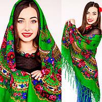 Модный украинский платок для женщин (125х125см, зеленый, 100%-акрил)