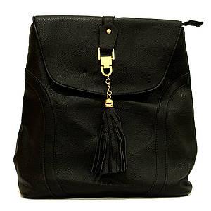 Сумка рюкзак черная женская из кожзаменителя