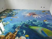 Наливной пол с художественным рисунком под прозрачным слоем