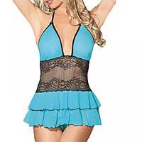 Сексуальный комплект эротического белья, сексуальный нежный романтический голубой пеньюар и стринги, S-M