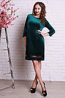 Коктейльное велюровое платье больших размеров прямого фасона