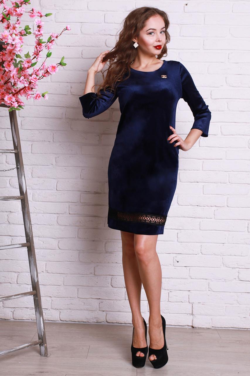 c7b3a238188 Очень красивое праздничное платье синего цвета из велюра и кружева ...