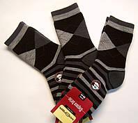Полушерстяные мужские носки махровые в ромбы черные
