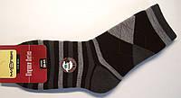 Полушерстяные мужские носки махровые в ромбы черного цвета