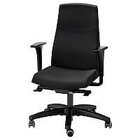 Кресло IKEA VOLMAR вращающееся с подлокотниками черное 391.372.43