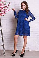 Очень красивое гипюровое платье в синем цвете свободного кроя
