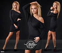 Короткое черное  платье со стразами. Арт-9291/41