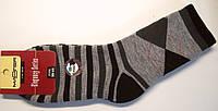 Махровые носки полушерстяные в ромбы серые