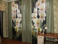 Фотошторы цветы в гостиную