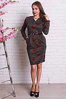 Стильное платье из трикотажа модной расцветки с кармашками и красивым ремешком
