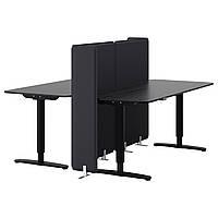 Комбинация 2-х столов для офиса IKEA BEKANT с экраном и регулируемой высотой черный 890.470.61