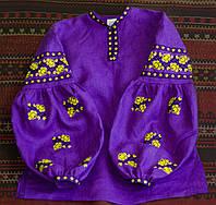 """Сорочка """"Троянди"""" фіолетова з жовтою вишивкою, фото 1"""