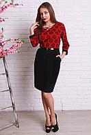 Красивое праздничное платье большого размера в черно-красном цвете