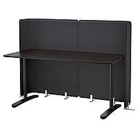 BEKANT Стол для приемной, черно-коричневый, черный