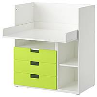 STUVA Стол с 3 ящиками, белый, зеленый