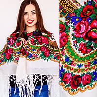 Украинский модный платок для женщин (125х125см,белый, 100%-акрил), фото 1