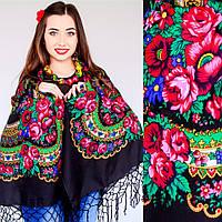 Женский украинский платок черный с цветами (125х125см, черный, 100%-акрил)
