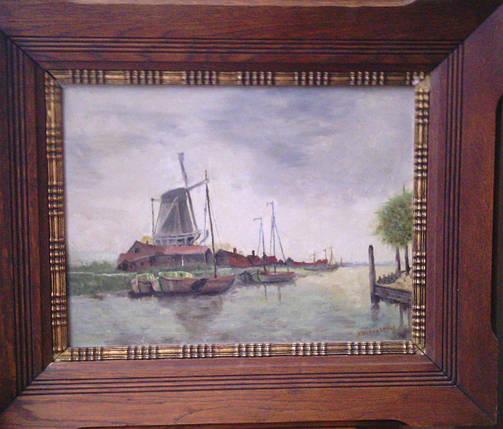 Картина Пейзаж с мельницей сер. ХХ-го века S.Vandertaner, фото 2